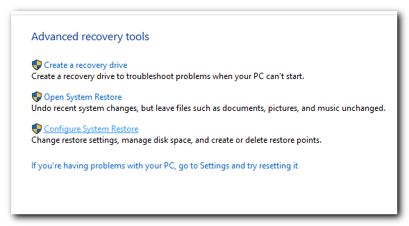 windows system restore configuration - step 3