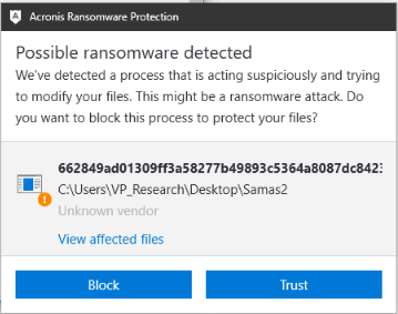 Acronis Active Protection successfully detects SamSam ransomware