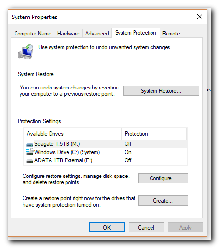 windows system restore configuration - step 4