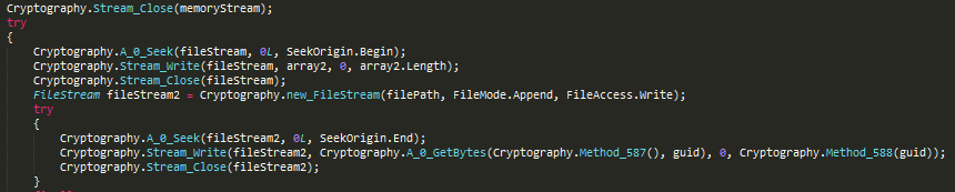 Writing encrypted content and key ID to file