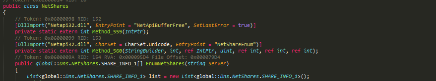 NetShare class implementation