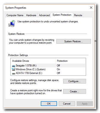 how to create a restore point in windows - step 4