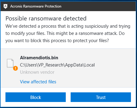 Acronis detects Data Keeper ransomware