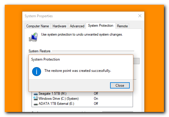 how to create a restore point in windows - step 6