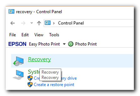 recovery - control panel