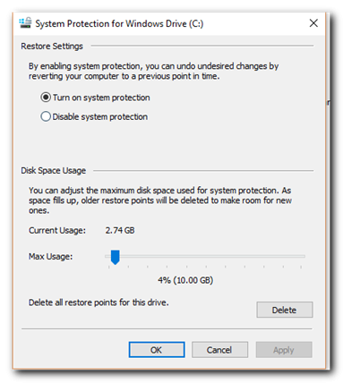 how to turn on windows system protection