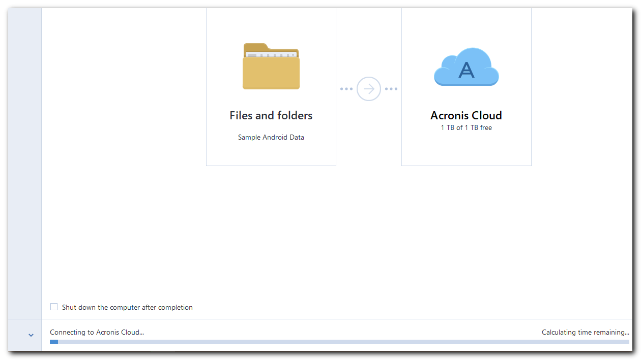 Connecting to Acronis Cloud