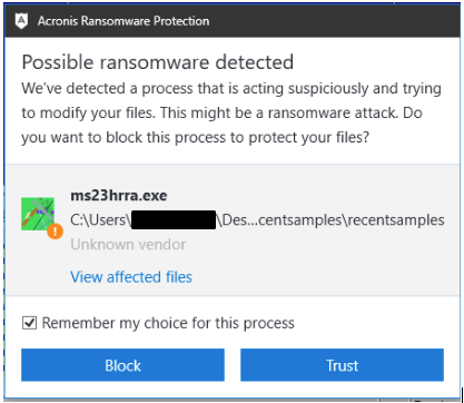 Acronis detects all version of GandCrab ransomware