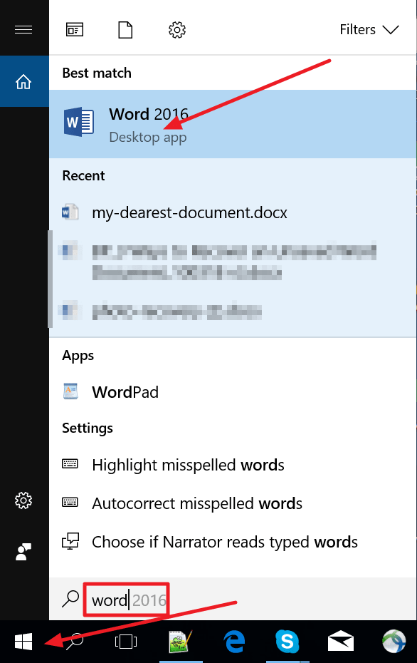 open ms word 2016