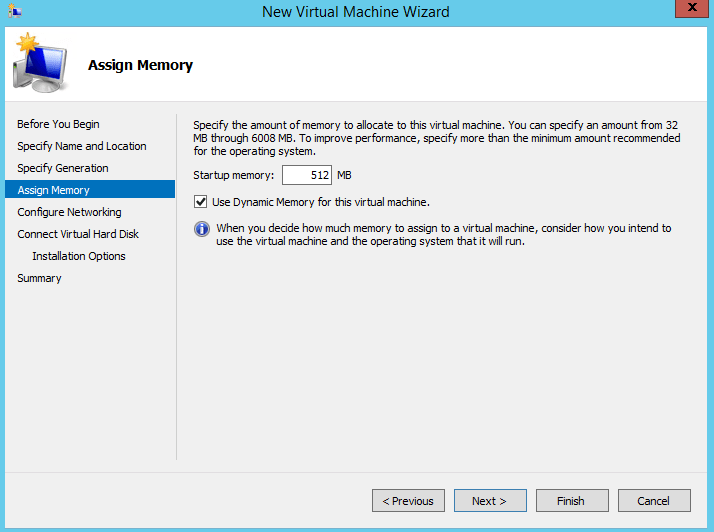 Assigning memory to a new VM