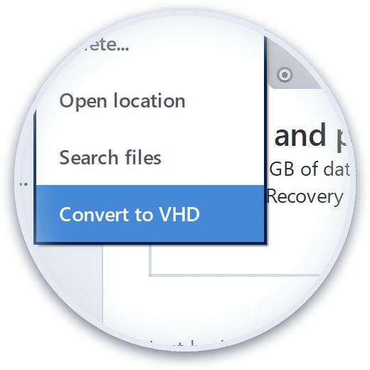 Converts to Virtual Hard Drive