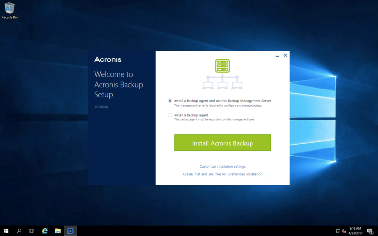 How to Install Acronis Backup Advanced on a Windows VM