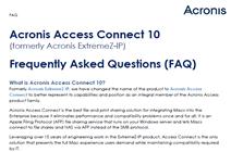 Acronis Access Connect Frequently Asked Questions (FAQs)