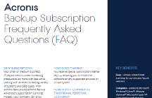 Acronis Backup Subscription FAQ