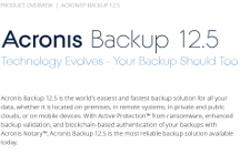 Acronis Backup 12.5 Product Overview