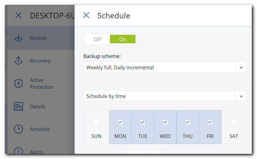 Scheduling your backup