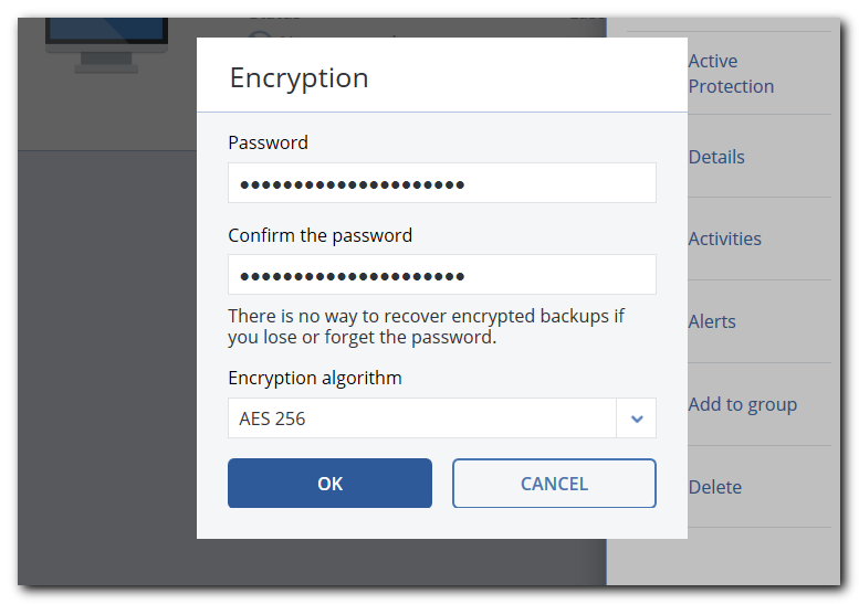 password protected backup