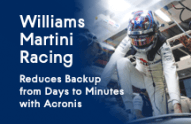 Williams Martini Racing Reduces Backup from Days to Minutes with Acronis