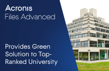 Acronis Files Advanced Provides Green Solution to Top-Ranked University