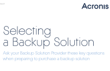 Selecting a Backup Solution - Checklist