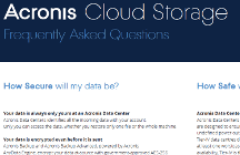 Acronis Cloud Storage FAQ
