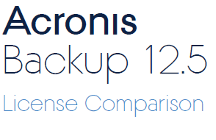 Acronis Backup 12.5 License Comparison