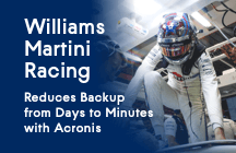 Williams Martini Racing reduce el tiempo de copia de seguridad de días a minutos con Acronis