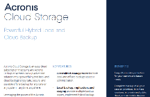 Acronis Cloud Storage Datenblätter
