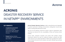 Acronis Disaster Recovery Service in NetApp Environments