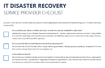 IT Disaster Recovery Service Provider Checklist